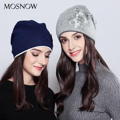 MOSNOW Hats For Girls Wool Female Vogue 2017 New Flower Rhinestones Fashion Winter Knitted Women's Hats Skullies Beanies #MZ719