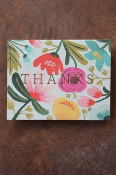 Gold Floral Thank You Greeting Cards, Boxed Set of 8