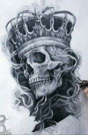 Our Website is the greatest collection of tattoos designs and artists. Find Inspirations for your next Skull Tattoo. Search for more Tattoos. Crown Tattoo Design, Skull Tattoo Design, Tattoo Design Drawings, Tattoo Designs, Totenkopf Tattoos, Chicano Tattoos, Body Art Tattoos, Hand Tattoos, Skulls