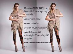 www.alexandraandlace.com.au   last day to receive 25% off on beautiful spring arrivals Last Chance, Kimono Top, Spring, Beautiful, Women, Women's, Woman