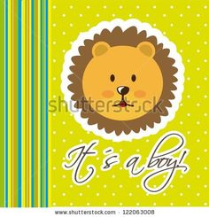 baby shower card with cute face lion. vector illustration - stock vector