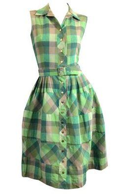 Shades of Green Checked Sleeveless Cotton Dress circa 1950s