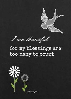 """I am thankful for my blessings are too many to count."""""""