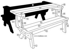 2 piece convertible picnic table Les Kenny Share > Identifying the pieces Woodworking Bench Plans, Learn Woodworking, Woodworking Patterns, Woodworking Supplies, Woodworking Joints, Teds Woodworking, Folding Picnic Table Plans, Picnic Table Bench, Outdoor Furniture Plans