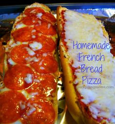 Homemade French Bread Pizza - Easy as 1-2-3  http://www.stockpilingmoms.com/2012/12/homemade-french-bread-pizza/