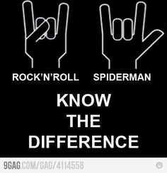 Rock 'n' Roll and Spider-Man. Know the difference. - Hand symbol for Rock and Roll is not the same as the hand symbol for Spiderman. I always get this wrong! Music Memes, Music Humor, Music Quotes, Logo Inspiration, Music Is Life, My Music, Rock N Roll, Metallica, Warped Tour