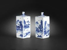 A fine pair of blue and white square flasks, Mid 17th century