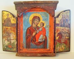 Lot 109 S58 - Antique Orthodox Russian - Greek Triptych Icon - Est. $2000-2500 - Antique Reader