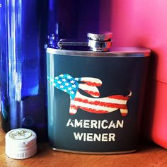 What to get for a dachshund dad that is doxie, but not girlie - an American Wiener flask of course.