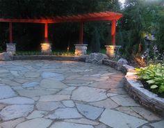 Bluestone Patio with Flagstone and Granite Fire Pit - patio - other metro - Treasured Earth Landscaping Concrete Patios, Bluestone Patio, Flagstone, Stone Patios, Stone Deck, Cement Patio, Patio Pergola, Backyard Patio, Backyard Landscaping