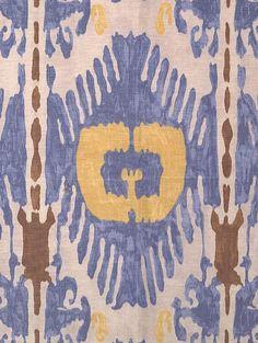 Scalamandre Oasis Ikat - blue & yellow. Linen/silk blend