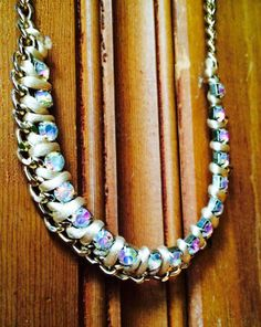 Chunky Rhinestone and Gold Chain Statement Necklace by JewelrybyRJ, $30.99