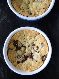 Deep Dish Chocolate Chip Cookies - Makes six individual servings - Add a scoop of ice cream and a dizzle of fudge sauce and you have a dinner party worthy dessert.