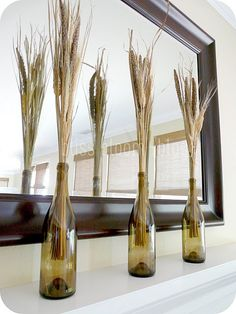 Wine bottles & wheat stalks. Could paint/design in wedding colors?????