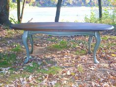 Grey Blue Chalk Painted Oval Coffee Table By TheRusticRiver, $90.00