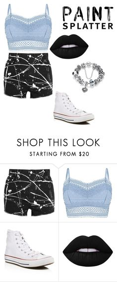 """""""Paint 2"""" by trinitymahomie on Polyvore featuring Yves Saint Laurent, Lipsy, Converse, Lime Crime and paintsplatter"""