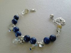 LOVE Gemstone Bracelet Lapiz Lazuli & Round Glass Clear Beads + FREE Earring by GorgeousBracelets on Etsy