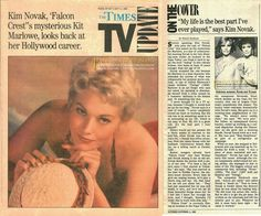 Falcon Crest Press Clipping of the Week!  1986-10-05 The Times TV Update:Kim Novak, Falcon Crest's mysterious Kit Marlowe, looks back at her Hollywood career ☞ Please share with your friends, like and comment ☜ #falconcrest #soapoperas #80s #tvshows
