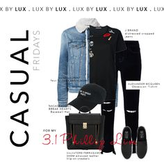 Casual outfit to match our unique 3.1 Phillip Lim black leather backpack. Twofer denim jacket, J Brand ripped skinny jeans, slip on runners, Alexander McQueen T-shirt finished with a snapback hat. Shop the purse now on our website!