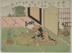 Suzuki Harunobu Japanese (1725 - 1770) Widow Kissing Her Ikebana Teacher, Edo period, circa 1765-1770