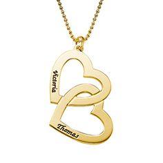 Corazón collar con nombre en plata dorada