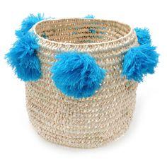 Panier en paille - Bleu turquoise