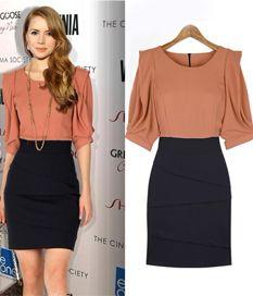 Slimming OL Style Color Block Round Collar Elegant Dresses