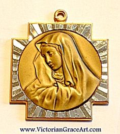 $38 Vintage German Pendant Virgin Mary Our Lady Maltese Cross Pendant (Image1)