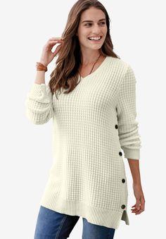 5ea8c62bd28 Button V-Neck Sweater - Women s Plus Size Clothing Plus Size Fashion For  Women