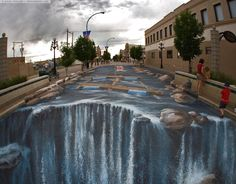 The work put into this chalk waterfall is...Breath taking... Just...wow...