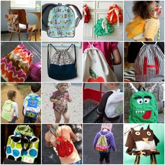 How to Make A Backpack: 30 Free Sewing Patterns for Adorable Backpacks including drawstring bags, toddler backpacks, ruffle backpacks and more. Sewing Patterns Free, Free Sewing, Free Pattern, Bag Patterns, Fabric Crafts, Sewing Crafts, Sewing Projects, Diy Projects, Sewing Hacks
