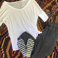 Comfort and style with this outfit #belladahl #shoplocal #basics #whitetee #havaianas #treatsclothing #solvang #santaynezvalley #santabarbaracounty #california #joggerstyle