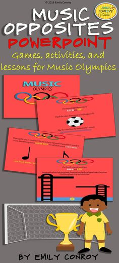 """Music Opposites PowerPoint-This presentation has lessons and games to help students learn various musical opposites such as loud/soft, fast/slow, high/low, and long/short. Each day, students earn an Olympic """"ring"""" as they master two new opposite words!"""