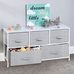 Baby Nursery mDesign Extra Wide Dresser Storage Tower - Sturdy Steel Frame, Wood Top, Easy Pull Fabric Bins - Organizer Unit for Child/Kids Bedroom or Nursery - Textured Print - 5 Drawers, Gray/White Nursery Closet Organization, Dresser Organization, Dresser Storage, Nursery Storage, Table Storage, Closet Storage, Storage Cabinets, Organization Ideas, Storage Ideas