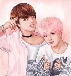FanArt - BTS: JungKook e Jimin em Spring Day por @moonmistix no Instagram #Jikook