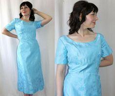 Vintage 1950's Handmade Blue Floral Brocade COCKTAIL DRESS, $68.00