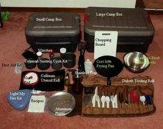 A visual of the contents for a camp box - camp kitchen items.