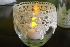 Lace Wrapped Round Candle Holder.  Seems easy enough to do myself.