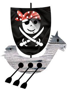 barco pirata ilustración en un poster publicitario para el evento pirata de la hípica 3 aires