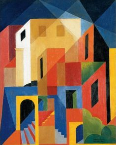 "Enrico Prampolini - Architettura Cromatica Di Capri x 33 cm) "" Enrico Prampolini April Modena – 17 June Rome) was an Italian Futurist painter, sculptor and scenographer. He assisted in the design of the. Cubist Paintings, Cubism Art, Futurism Art, Geometric Art, Painting Inspiration, Collage Art, Art Drawings, Art Projects, Contemporary Art"