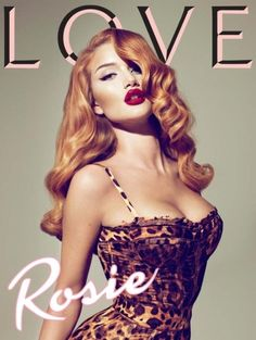 LOVE the hair and makeup in this one. Transformed into a vintage #redhead pin-up girl the VS model Rosie Huntington-Whiteley became a cover girl for the Fall 2010 issue of the LOVE Magazine. The shot was made by the prominent Mert Alas & Marcus Pigott.