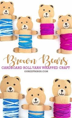 Cardboard Roll Yarn Wrapped Bears Cardboard Roll Yarn Wrapped Bears Craft The post Cardboard Roll Yarn Wrapped Bears appeared first on Craft Ideas. Fall Crafts For Toddlers, Animal Crafts For Kids, Toddler Crafts, Diy Crafts For Kids, Cardboard Tube Crafts, Cardboard Rolls, Toilet Paper Roll Crafts, Fun Craft, Craft Activities
