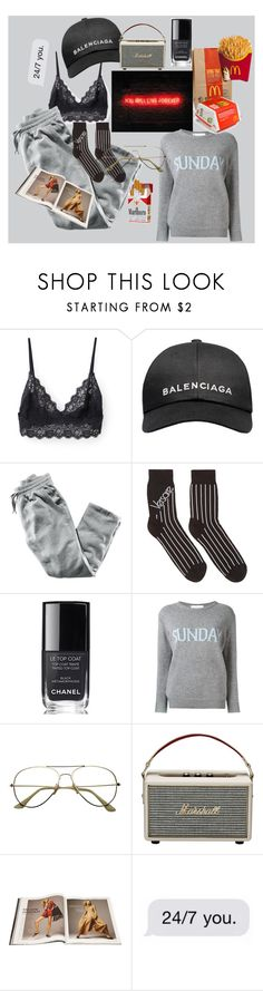 """cozy sunday mood.."" by carolineingeman ❤ liked on Polyvore featuring Balenciaga, H&M, Versace, Chanel, Alberta Ferretti and Marshall"