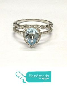 Pear Aquamarine Engagement Ring Bridal Set Pave Diamonds Wedding 14K White Gold 6x8mm Art Deco from the Lord of Gem Rings https://www.amazon.com/dp/B01HQUC77A/ref=hnd_sw_r_pi_dp_FsCExb49G55N9 #handmadeatamazon