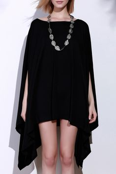 Batwing Sleeve Asymmetric Handkerchief Plus Size Tunic Top - Black L
