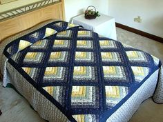 Chevron Log Cabin Quilt -- gorgeous adeptly made Amish Quilts from Lancaster (hs1606)
