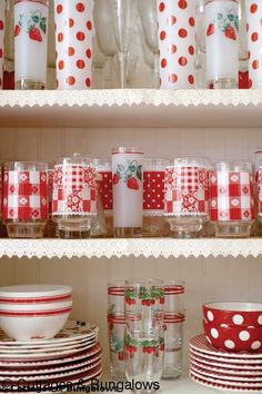 A Space Challenged Home Finds Room for Nostalgia: Cottages and Bungalows Would love to open my cupboard and find it full of Vintage colorful glassware Red And White Kitchen, Red Kitchen, Kitchen Decor, Kitchen Dishes, Kitchen Things, Kitchen Stuff, Diner Kitchen, Kitchen Ideas, Swedish Kitchen