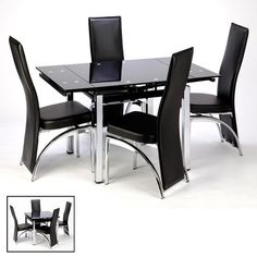 Furniture In Fashion Paris Extending Black Glass Dining Table With Chrome Legs Extendable Glass Dining Table, Black Glass Dining Table, Black Leather Dining Chairs, 4 Seater Dining Table, Black Dining Room Chairs, Solid Wood Dining Table, Dining Room Table, Table And Chairs, Dining Rooms