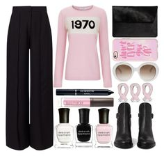 """""""I wear pink for my aunt, who gave birth to my cousin in 1970"""" by juliehalloran ❤ liked on Polyvore featuring Miss Selfridge, Bella Freud, Gucci, AllSaints, Bling Jewelry, Casetify, Deborah Lippmann, Laura Mercier and Christian Dior"""