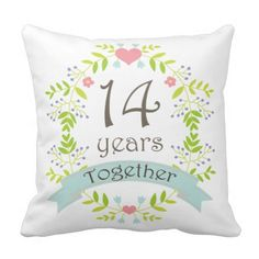 14th Anniversary Gift Throw Pillow #14thAnniversary